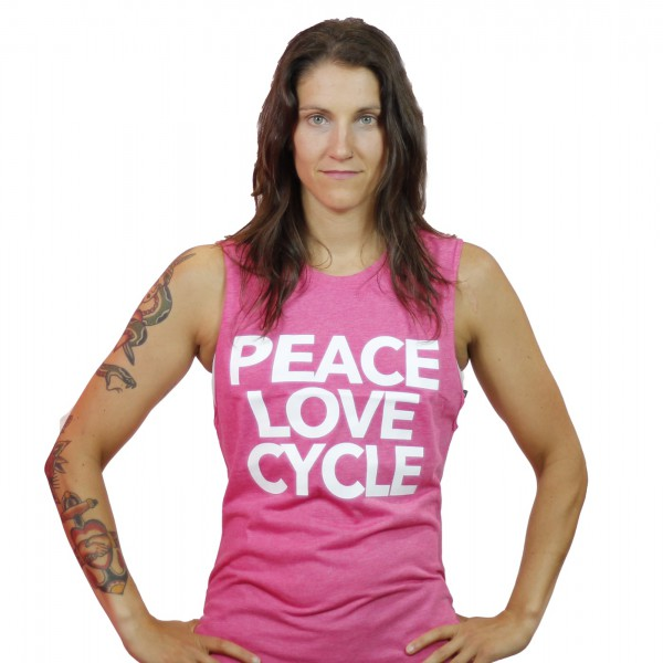 Tank Top Peace Love & Cycle Wild Pink