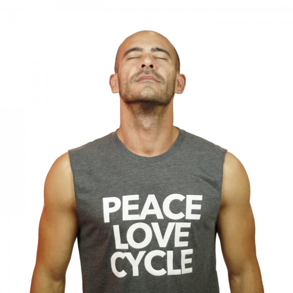 Tank Shirt Peace Love & Cycle Grey