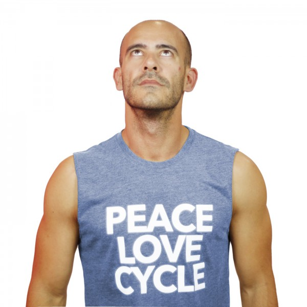 Tank Shirt Peace Love & Cycle Bleu